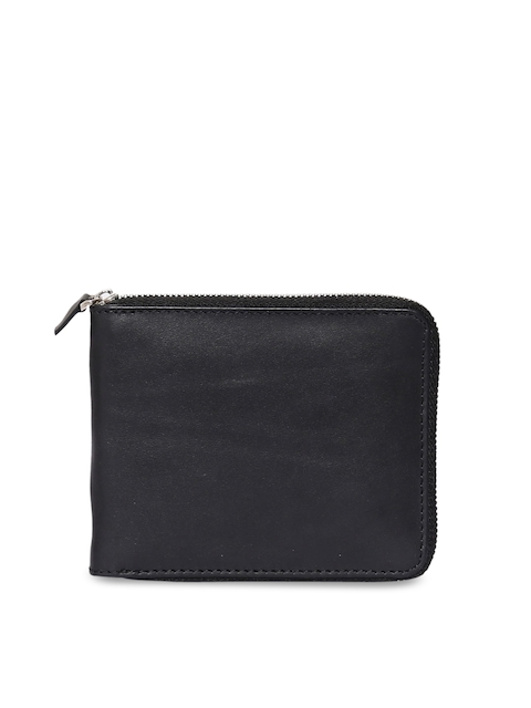 CHISEL Men Black Solid Leather Zip Around Wallet