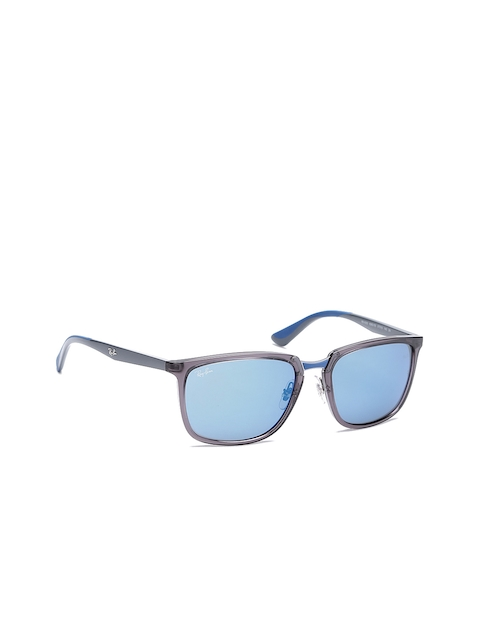 Ray-Ban Men Rectangle Mirrored Sunglasses 0RB430363635557