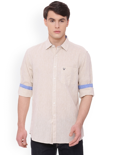 Allen Solly Men Beige Slim Fit Printed Casual Shirt