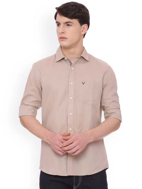 Allen Solly Men Beige Slim Fit Solid Casual Shirt