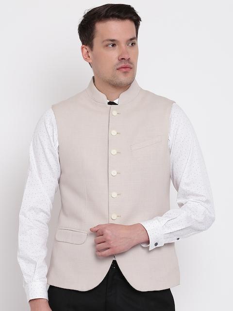 Blackberrys Beige Slim Fit Nehru Jacket