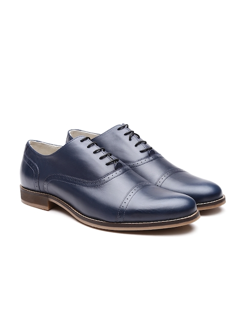 United Colors of Benetton Men Navy Solid Leather Brogues