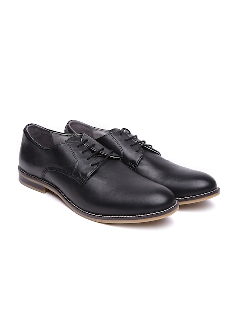 United Colors of Benetton Men Black Genuine Leather Derbys