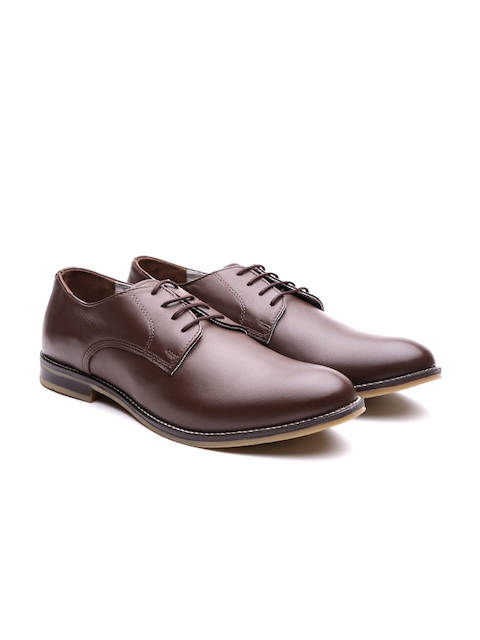 United Colors of Benetton Men Coffee Brown Genuine Leather Formal Shoes