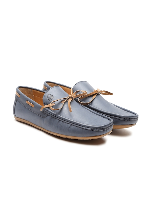 United Colors of Benetton Men Blue Leather Boat Shoes