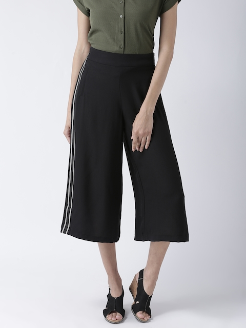 109F Women Black Regular Fit Solid Trousers
