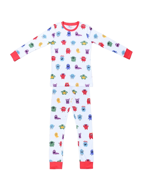 ventra Boys White & Multicoloured Printed Night suit
