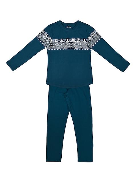 ventra Girls Navy Blue Printed Night suit