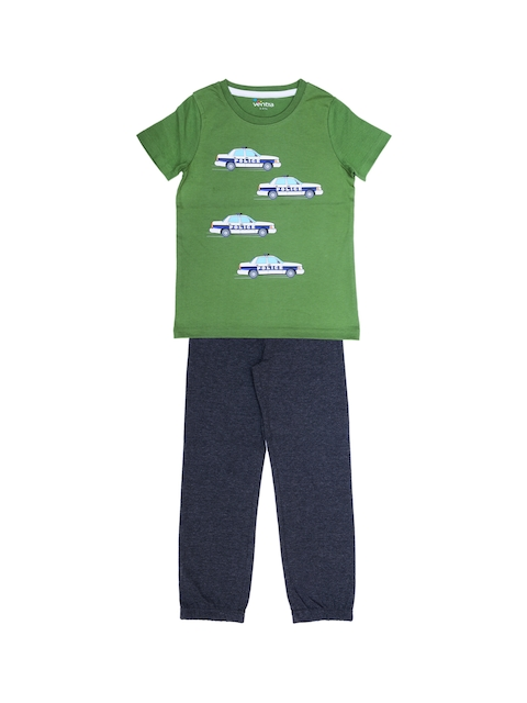 ventra Boys Green & Navy Blue Printed Night suit