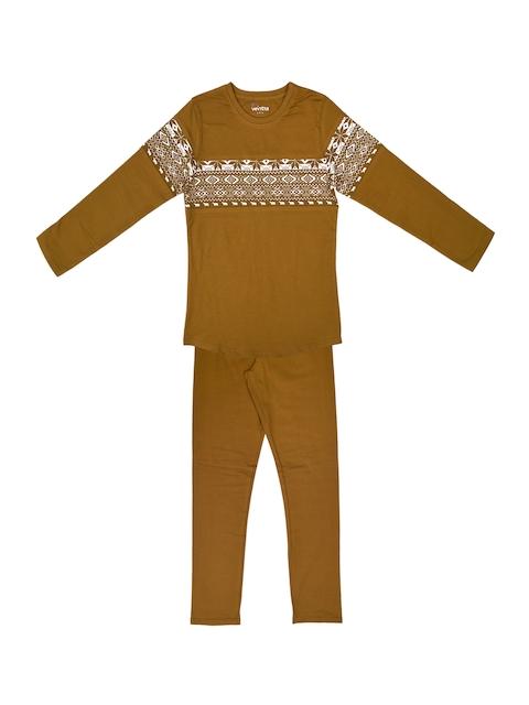 ventra Girls Mustard Printed Night suit