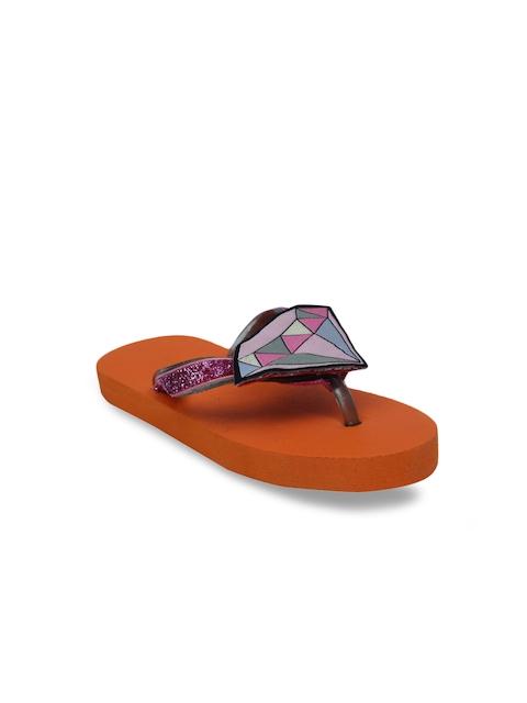 DChica Girls Orange & Pink Printed Thong Flip Flops