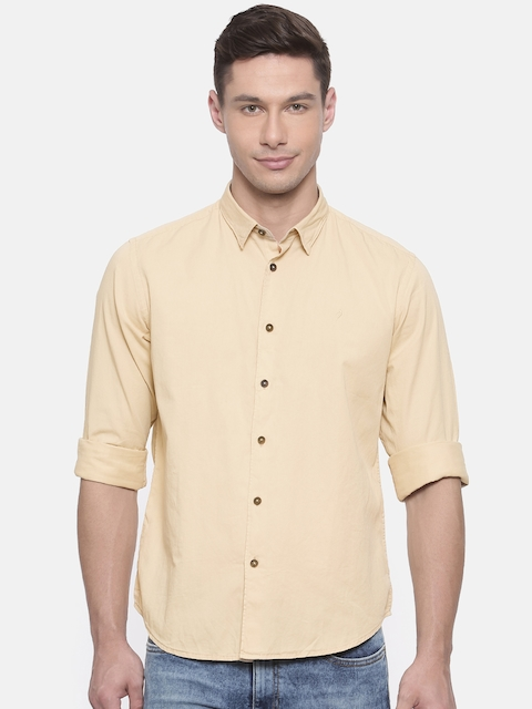 Indian Terrain Men Beige Slim Fit Solid Casual Shirt