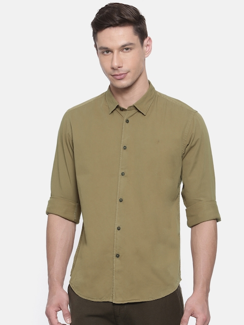 Indian Terrain Men Olive Green Slim Fit Solid Casual Shirt