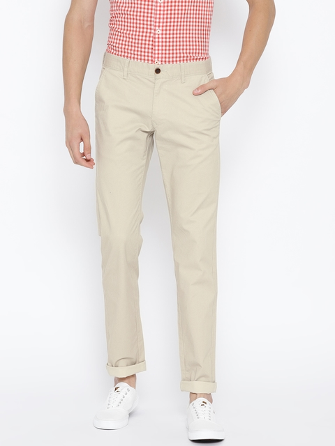 Indian Terrain Men Beige Brooklyn Slim Fit Printed Regular Trousers