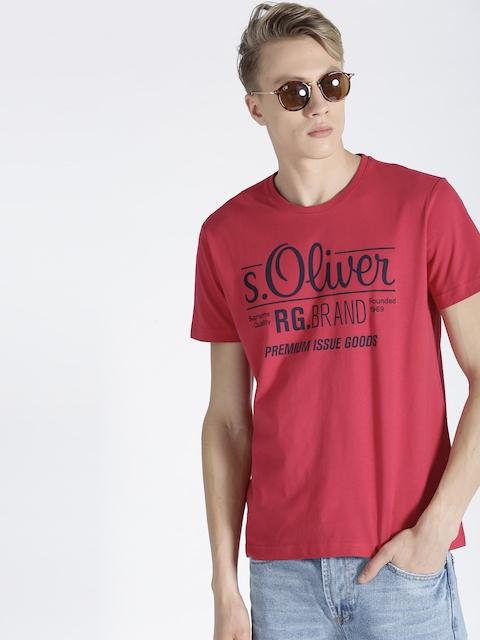 s.Oliver Men Pink Brand Print Round Neck T-shirt