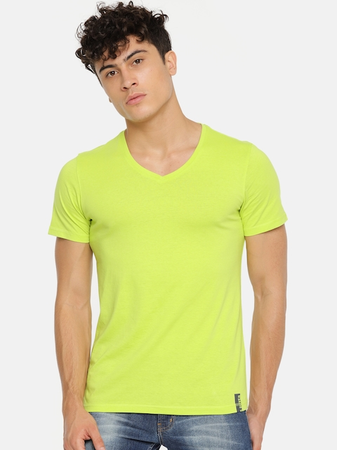 s.Oliver Men Fluorescent Green Solid V-Neck T-shirt