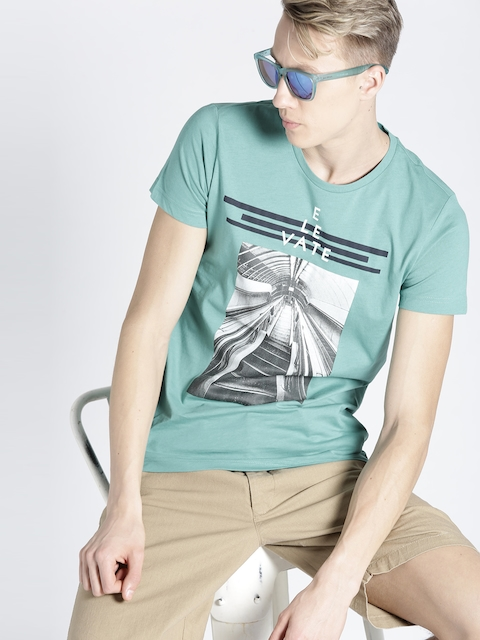 s.Oliver Men Sea Green Printed Round Neck T-shirt