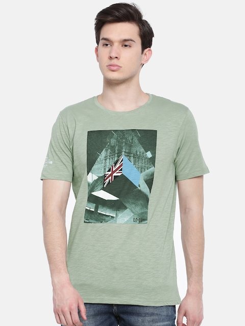 Lee Cooper Men Green Printed Round Neck T-shirt