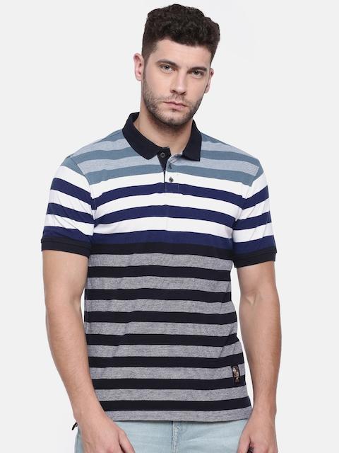 Lee Cooper Men Navy & White Striped Polo Collar T-shirt