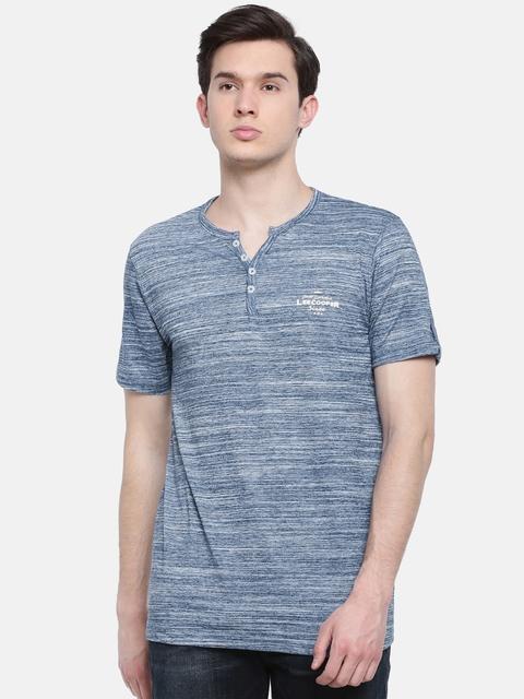 Lee Cooper Men Blue Henley-Neck T-shirt