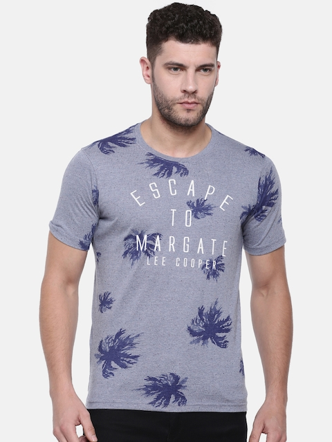 Lee Cooper Men Blue Printed Round Neck T-shirt