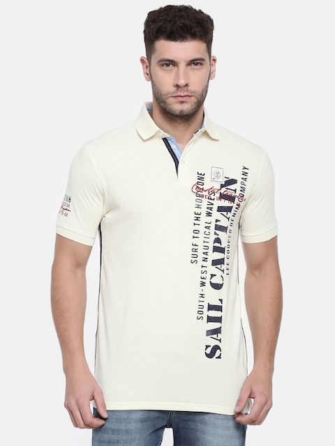 Lee Cooper Men Off-White Printed Polo Collar T-shirt