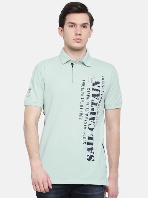 Lee Cooper Men Sea Green Printed Polo Collar T-shirt