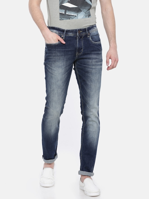 Lee Cooper Men Blue Skinny Fit Low-Rise Low Distress Stretchable Jeans