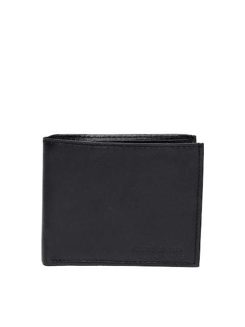 Peter England Men Black Solid Two Fold Wallet