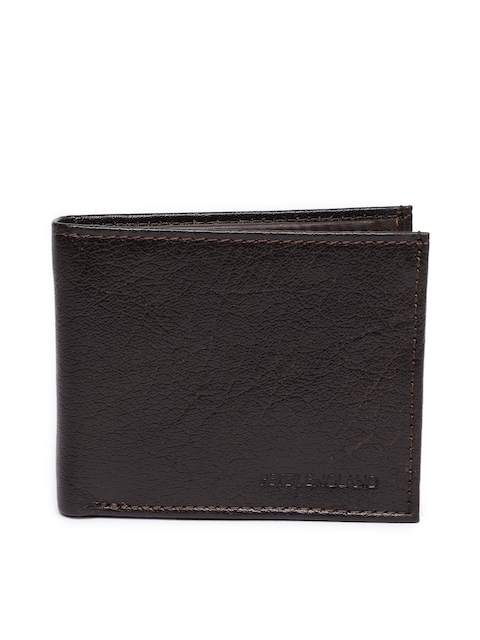 Peter England Men Brown Solid Two Fold Wallet