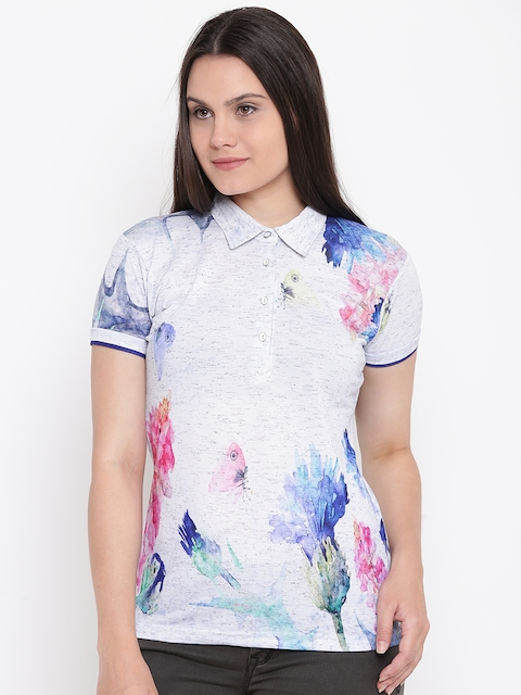 Monte Carlo Women Grey Printed Polo Collar T-shirt