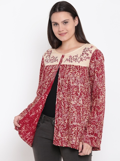 Monte Carlo Women Maroon Printed Front Open Top