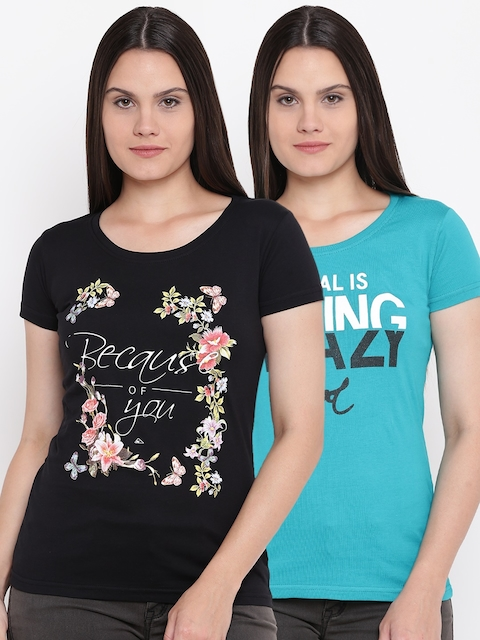 Monte Carlo Women Pack of 2 Printed Round Neck T-shirts