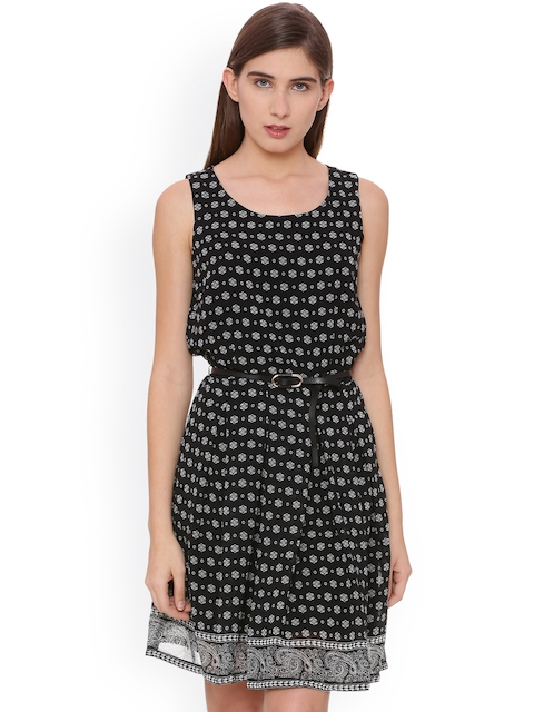 Allen Solly Woman Women Black Printed A-Line Dress