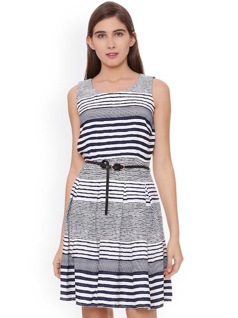 Allen Solly Woman Women Navy Blue Striped A-Line Dress