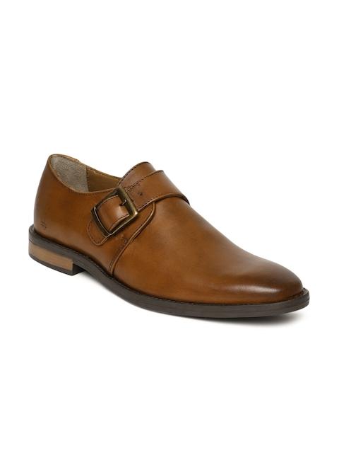 Arrow Men Tan Brown Clint Leather Monk Shoes