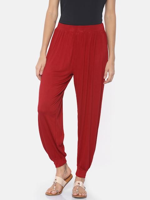 Go Colors Women Red Harem Pants