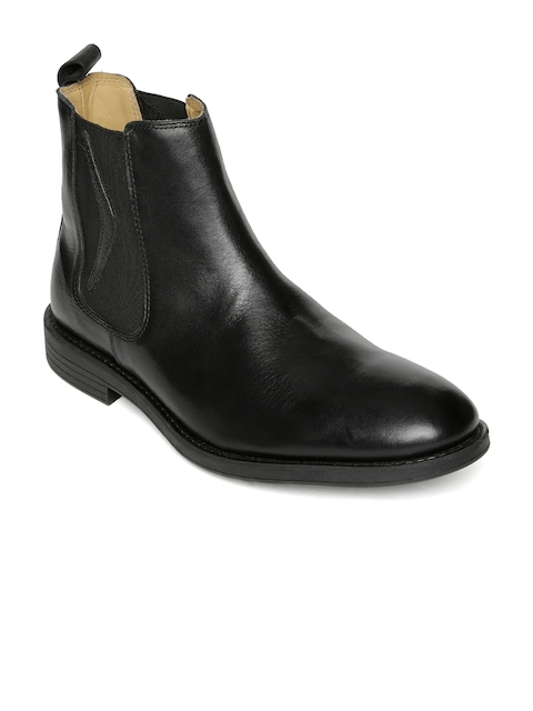 Urban Country Men Black Solid Leather High-Top Flat Boots