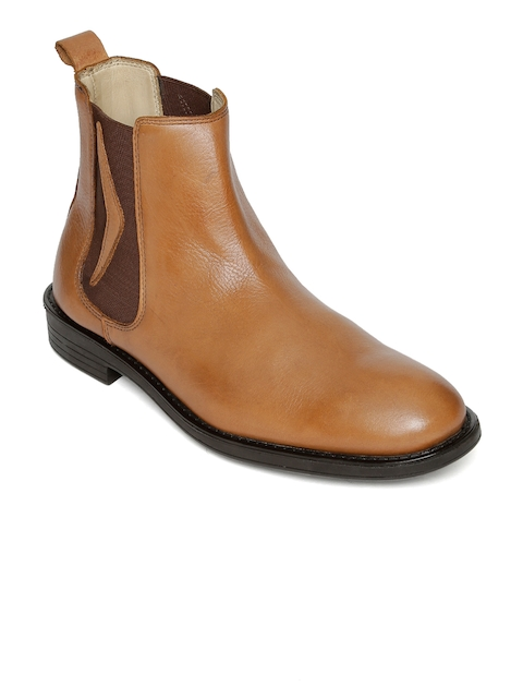 Urban Country Men Tan Solid Leather High-Top Flat Chelsea Boots
