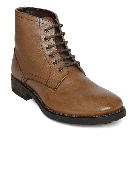 Urban Country Men Tan Solid Leather High-Top Flat Boots
