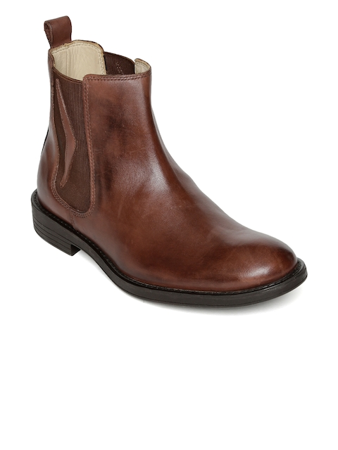 Urban Country Men Brown Solid Leather High-Top Flat Chelsea Boots