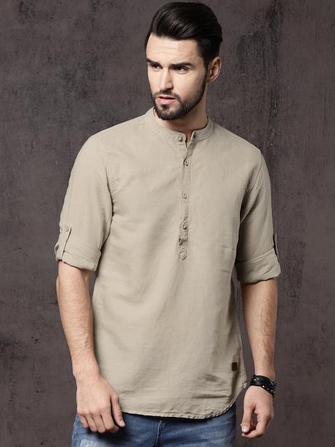 Roadster Men Beige Regular Fit Solid Casual Shirt
