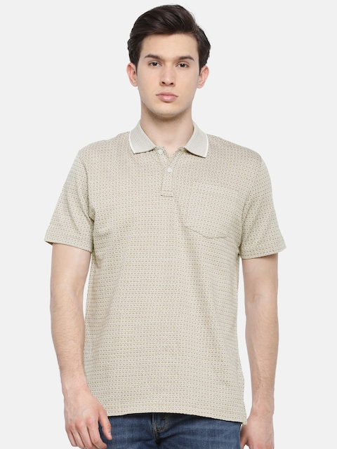 Park Avenue Men Beige Self Design Polo Collar T-shirt