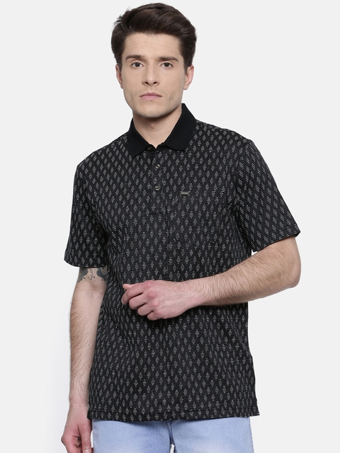 Park Avenue Men Black Self Design Polo Collar T-shirt