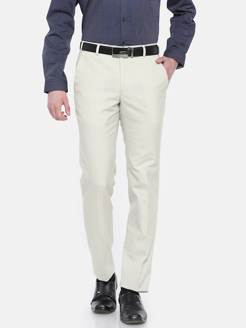 Park Avenue Men Beige Super Slim Fit Self Design Formal Trousers