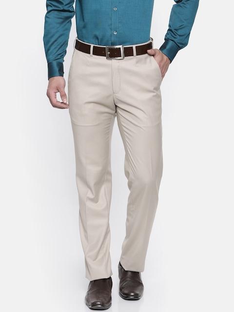 Park Avenue Men Beige Smart Slim Fit Solid Formal Trousers