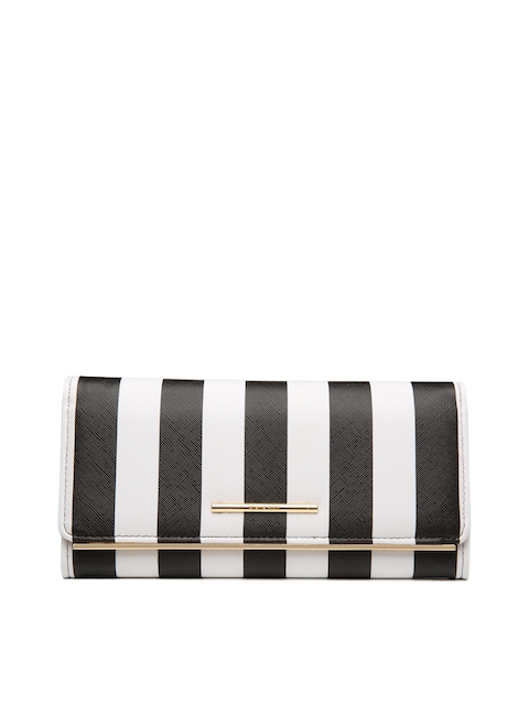 Diana Korr Women Black & White Striped Two Fold Wallet