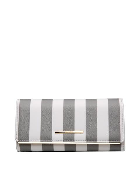 Diana Korr Women Grey & White Striped Two Fold Wallet