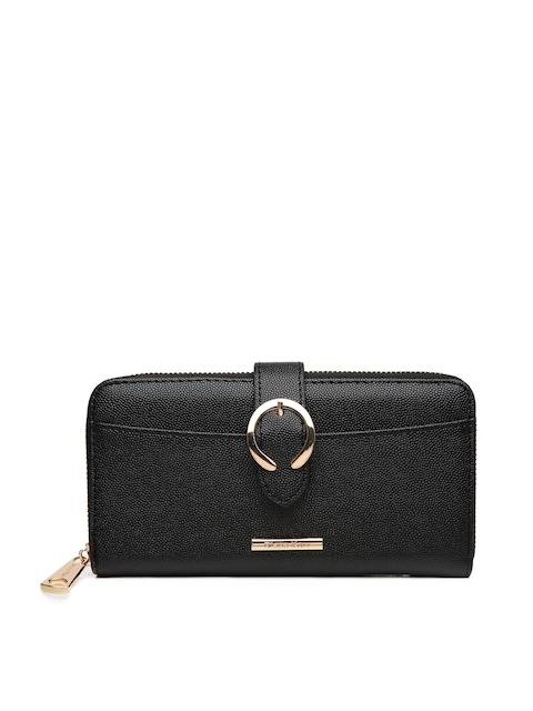 Diana Korr Women Black Textured Zip Around Wallet
