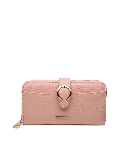 Diana Korr Women Peach-Coloured Textured Zip Around Wallet
